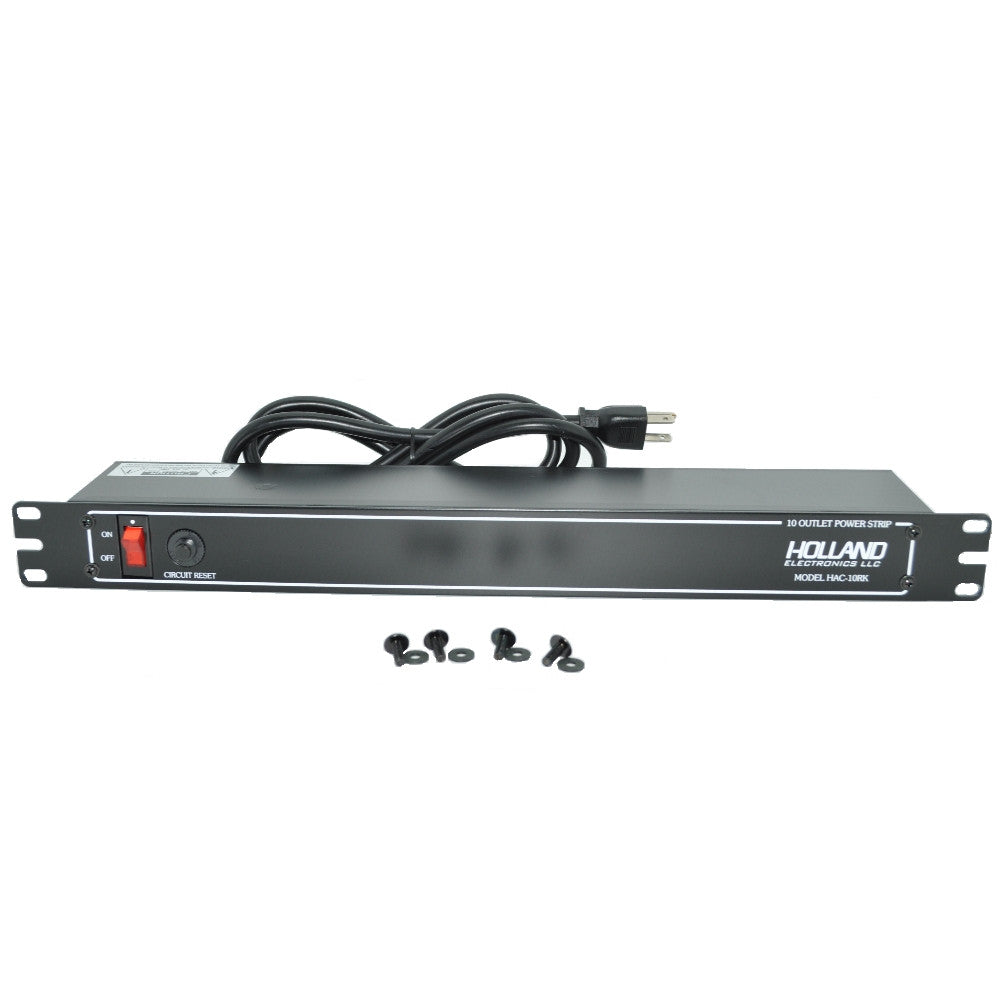 Holland Electronics HAC-10RK 10 Outlet Power Strip for Headend Racks - 21st Century Entertainment Inc.