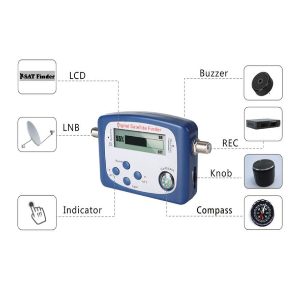 CDD Digital Satellite Finder with LCD Display and Audio Tone - 21st Century Entertainment Inc.