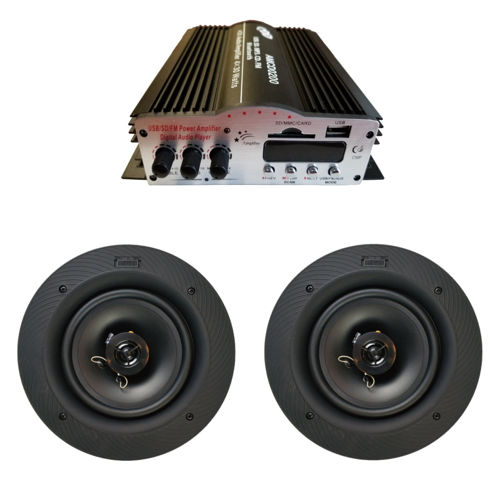 "CDD 4 Channel Bluetooth Mini Amplifier 4x30W and 8"" In-Ceiling Frameless/Magnetic Grill Speakers (Pair)"