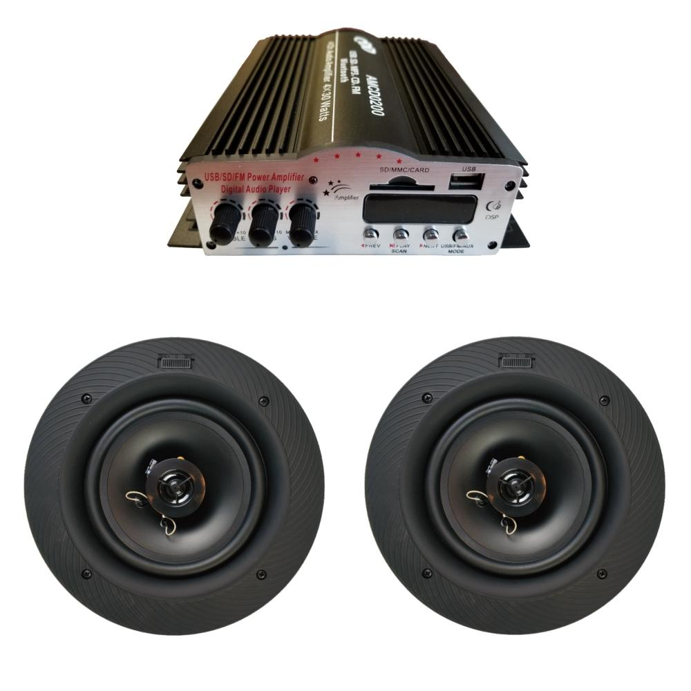 CDD 4 Channel Bluetooth Mini Amplifier 4x30W and 6 ½ In-Ceiling Frameless/Magnetic Grill Speakers (Pair)