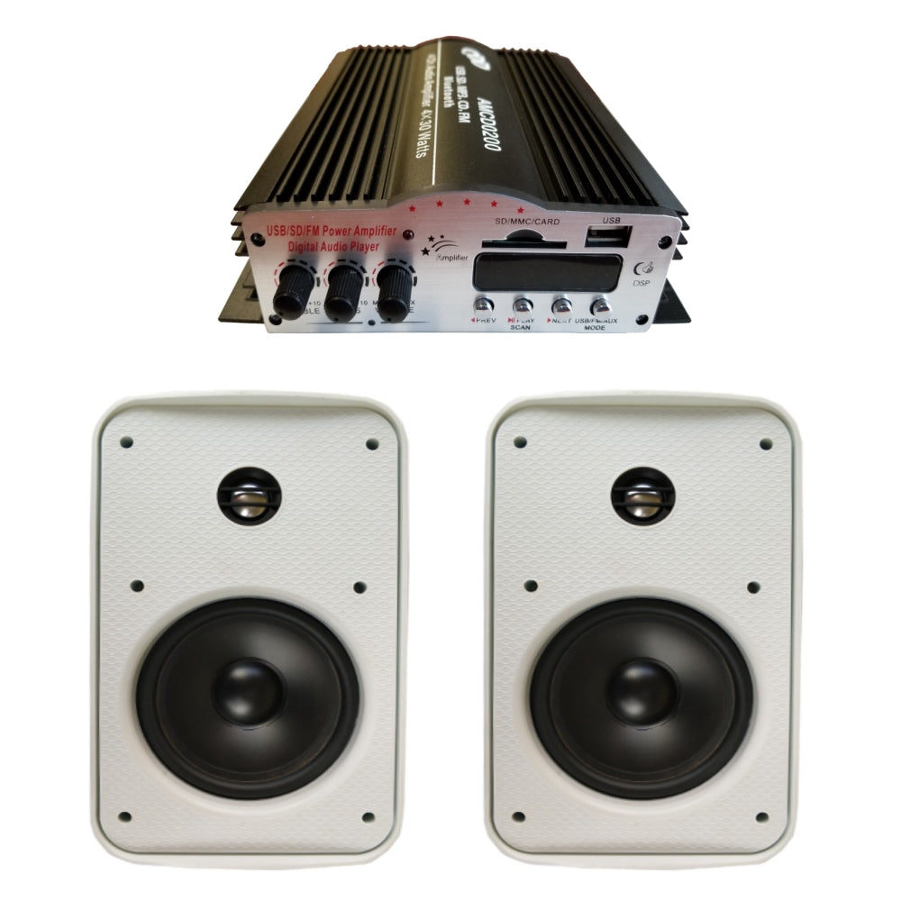 "CDD 4 Channel Bluetooth Mini Amplifier 4x30W and 5.25"" Outdoor On Wall Speakers (Pair)"