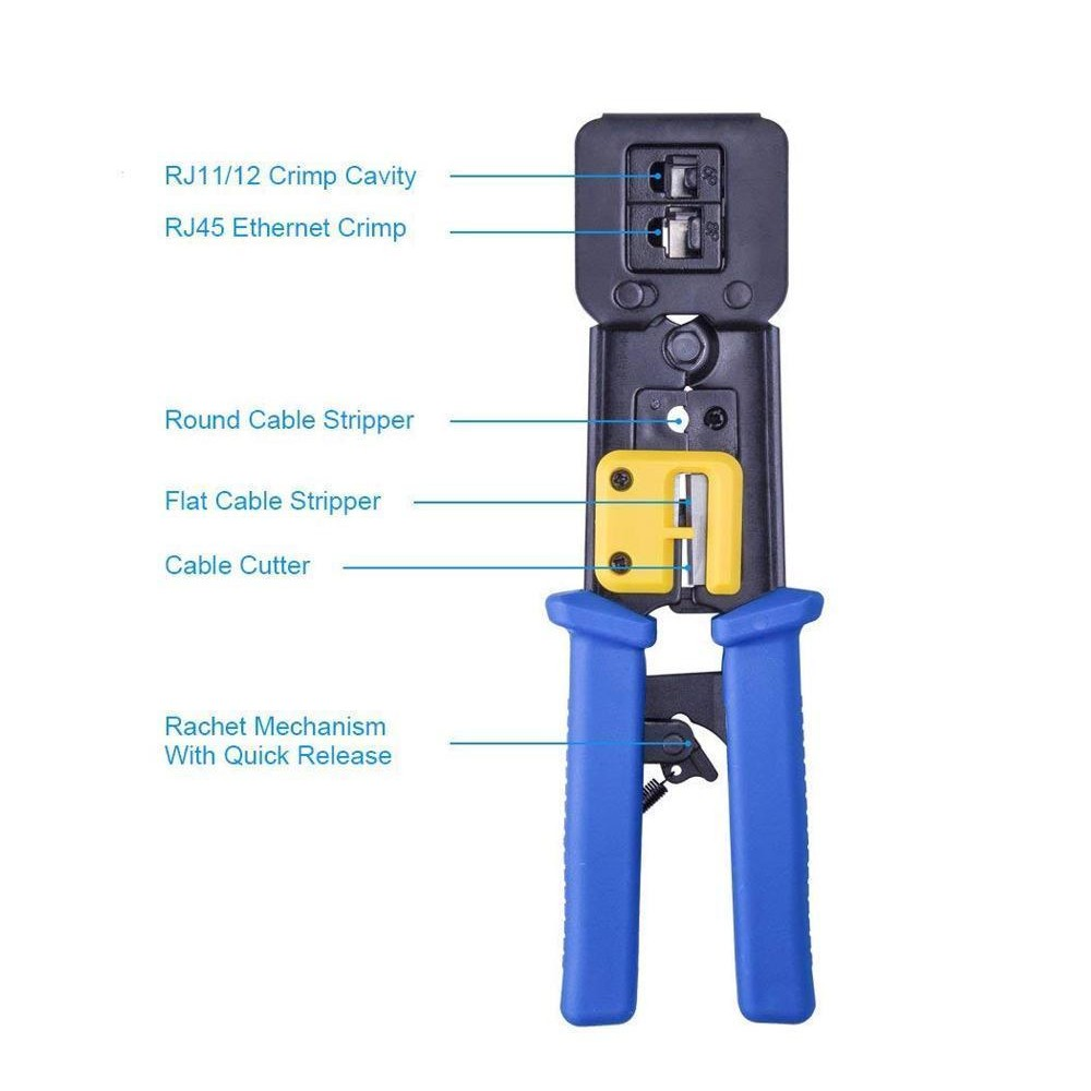 CDD Ratchet Crimp Tool for Cat5e and Cat6 EZ-RJ45 Pass Through Connectors c/w Spare Blades - 21st Century Entertainment Inc.