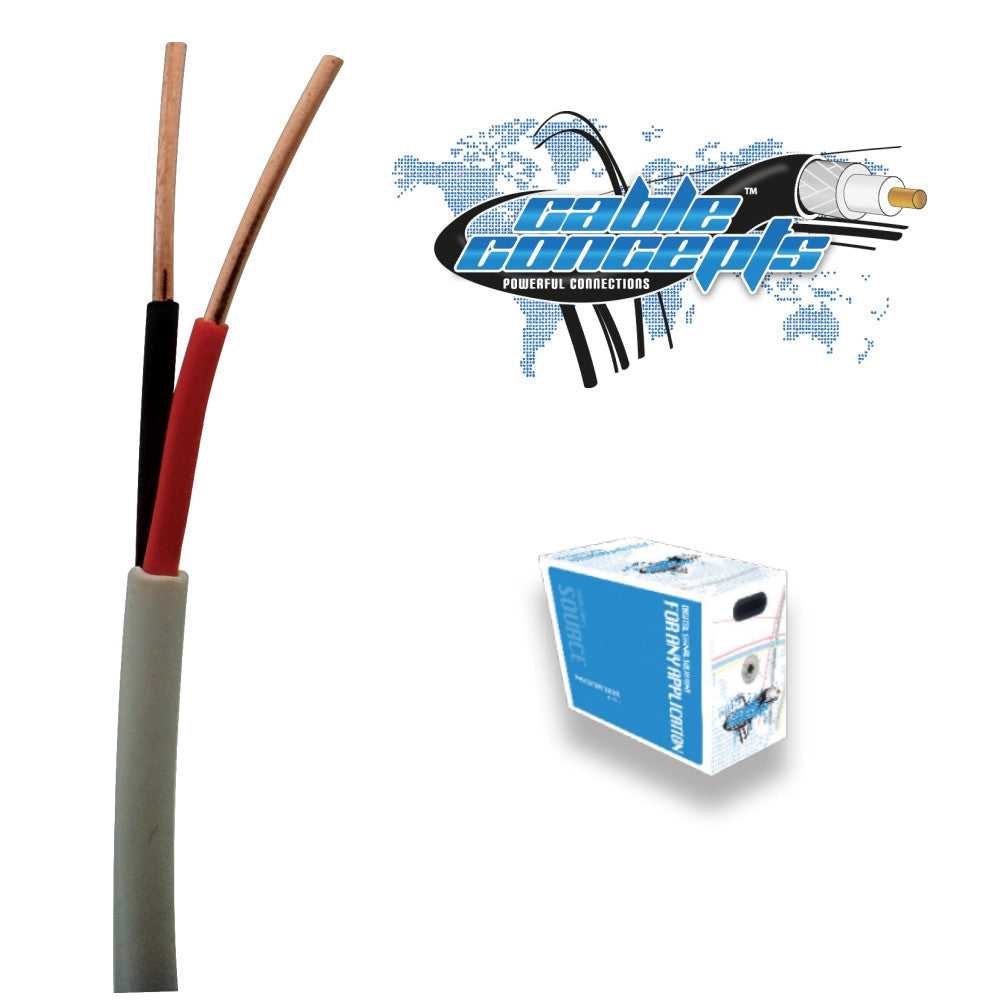 Cable Concepts Low Voltage Cable, 18 AWG, 2 Conductor, 1000 Ft - 21st Century Entertainment Inc.