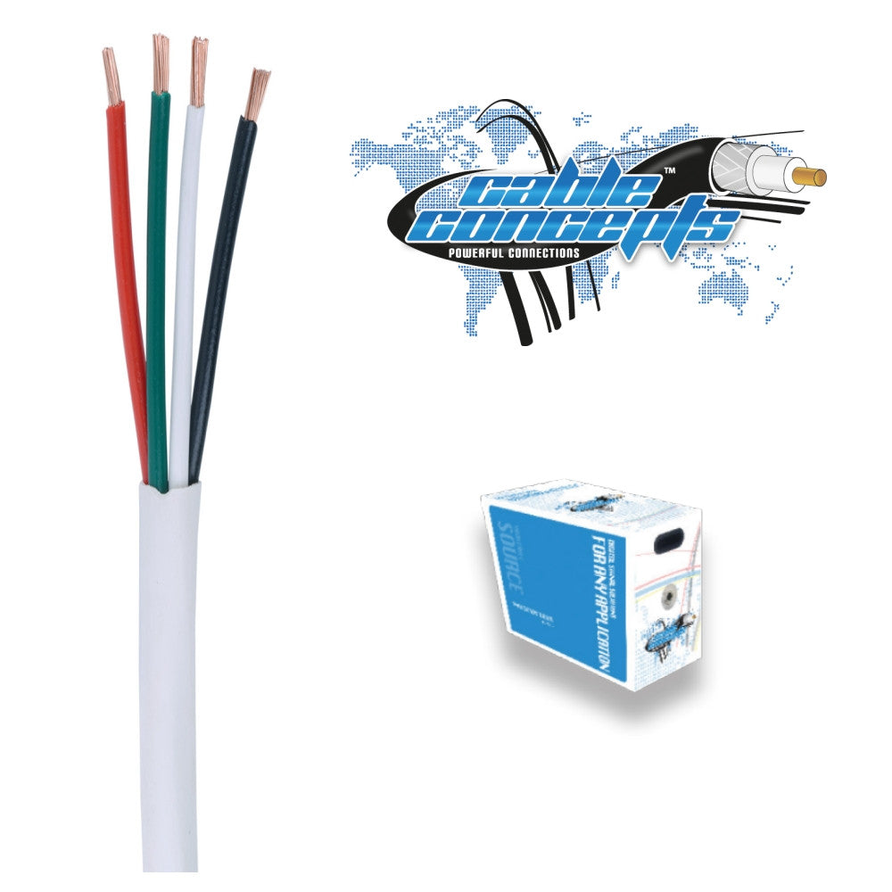 Cable Concepts Low Voltage Cable, 18 AWG, 4 Conductor, 1000 Ft, Brown - 21st Century Entertainment Inc.