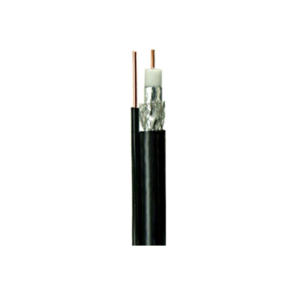 Cable Conceps RG6 Solid Copper Core With 17 AWG Messenger, Wooden Reel, Black