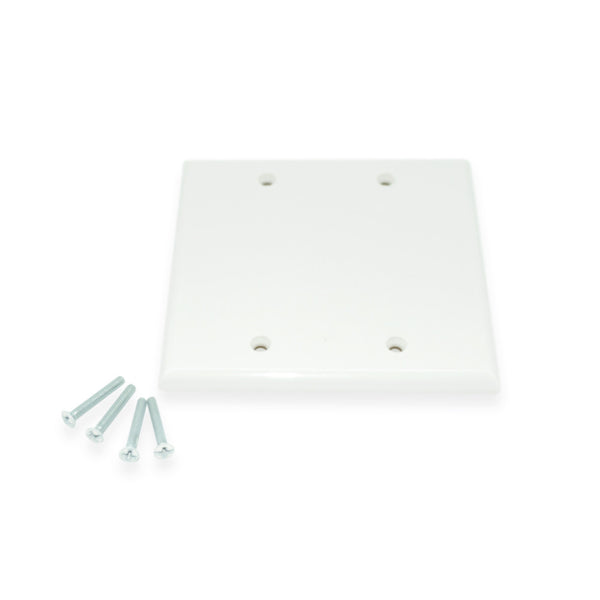Steren Blank Dual Gang Wall Plate, White - 21st Century Entertainment Inc.