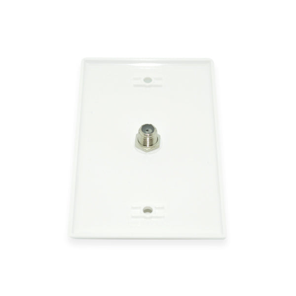CDD Wall Plate w/Single 1.0 ghz F-81 Connector, White - 21st Century Entertainment Inc.