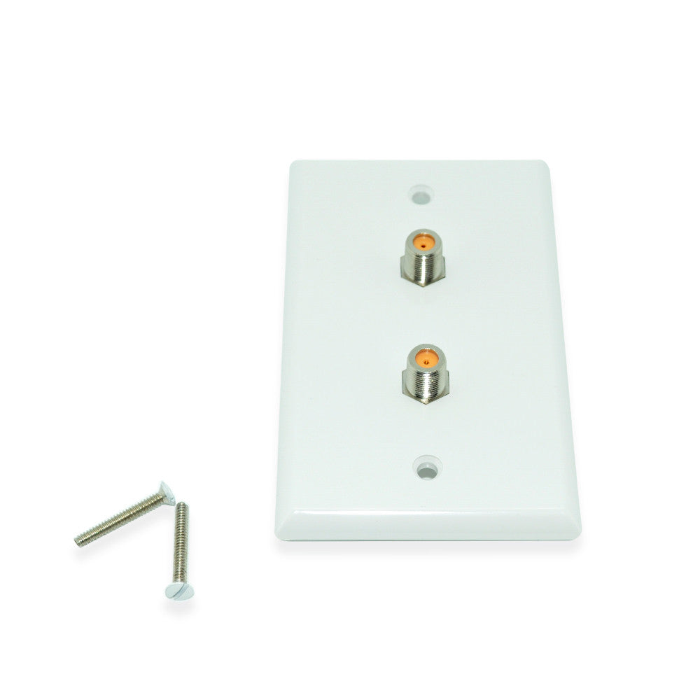 Wall Plate w/Dual 3.0 ghz F-81 Connector, White - 21st Century Entertainment Inc.