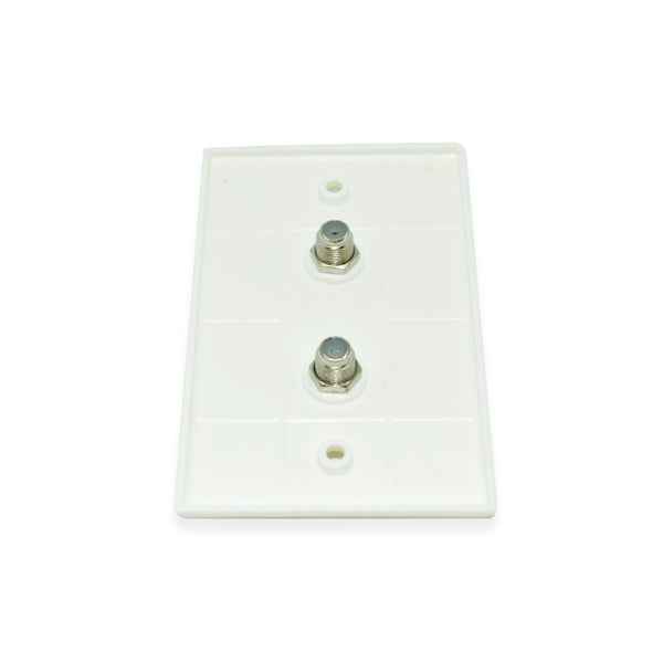 CDD Wall Plate with w/Dual 1.0 ghz F-81 Connectors, White - 21st Century Entertainment Inc.