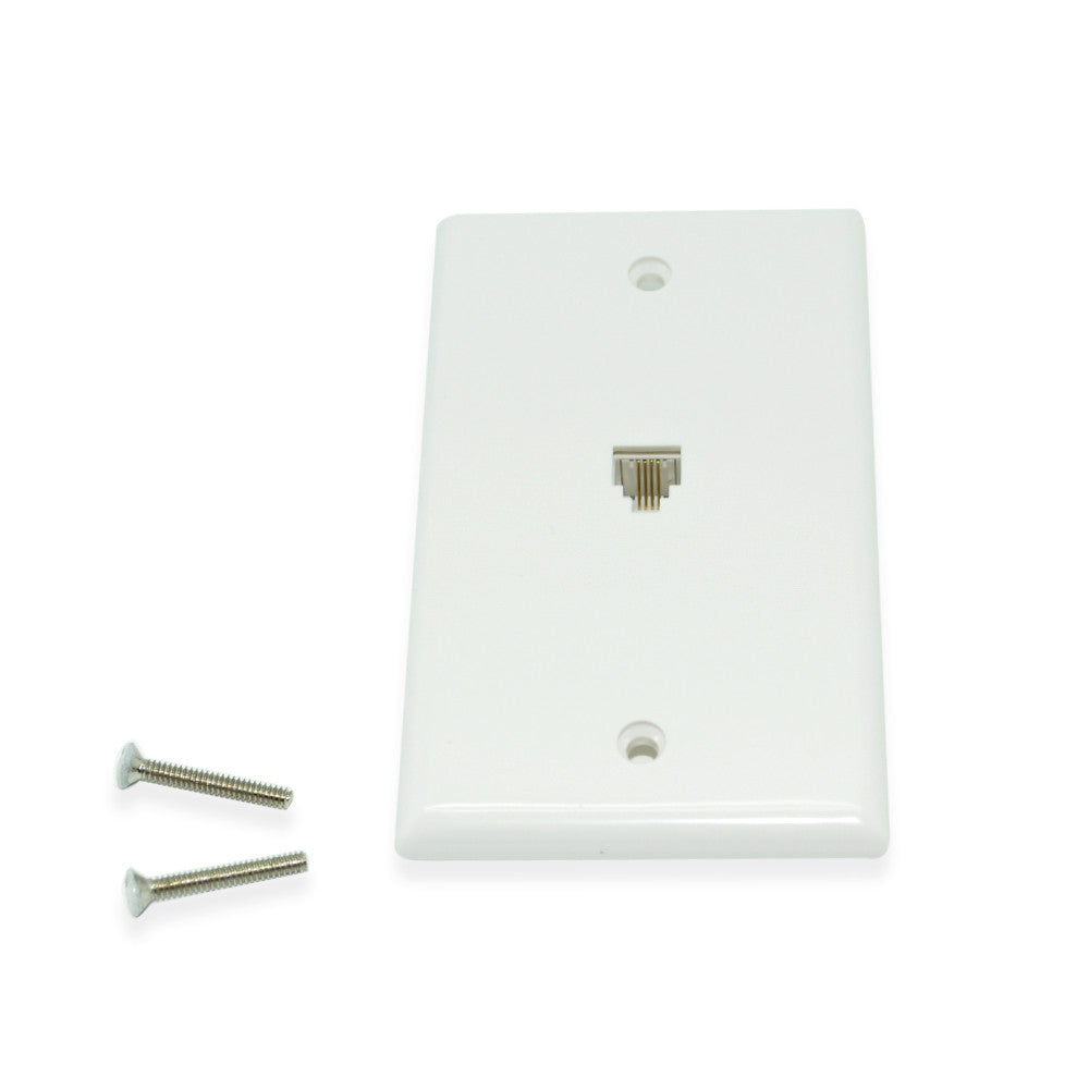 CDD Single Telephone Wall Plate with  Phillips Screw Head, White - 21st Century Entertainment Inc.