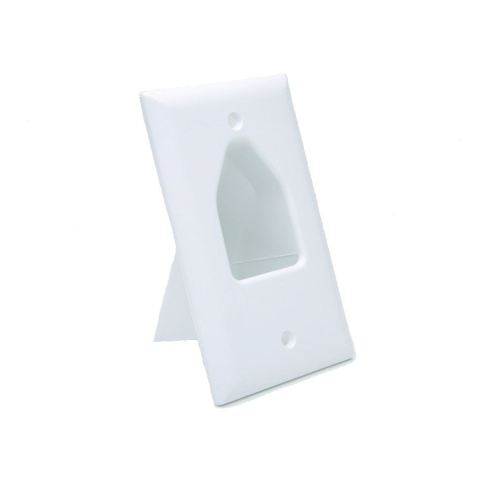 CDD 1 Gang Recessed Low Voltage Cable Plate, White - 21st Century Entertainment Inc.
