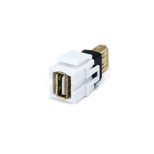 Keystone Jack - USB 2.0 A Female to A Female Coupler Adapter, Flush Type (White) - 21st Century Entertainment Inc.