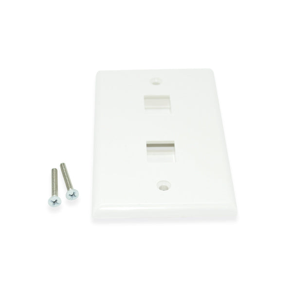 CDD Keystone Wall Plate 2 Cavity, White - 21st Century Entertainment Inc.