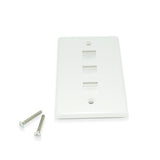 CDD Keystone Wall Plate 3 Cavity, White - 21st Century Entertainment Inc.
