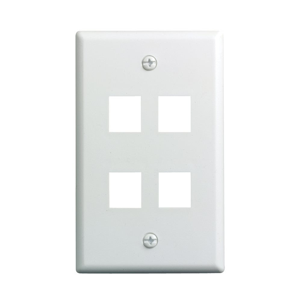 CDD Keystone Wall Plate 4 Cavity, White - 21st Century Entertainment Inc.