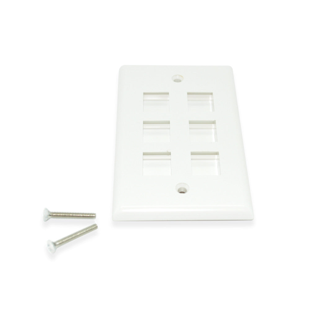 CDD Keystone Wall Plate 6 Cavity, White - 21st Century Entertainment Inc.