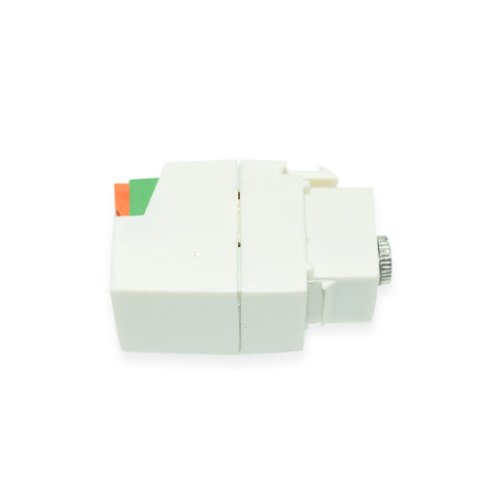 Keystone Jack 1/8 inch Stereo Mini Plug, White - 21st Century Entertainment Inc.