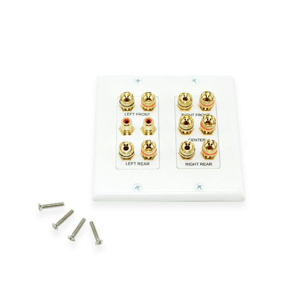 Dual Gang 5.2 Home Theater Wall Plate, White