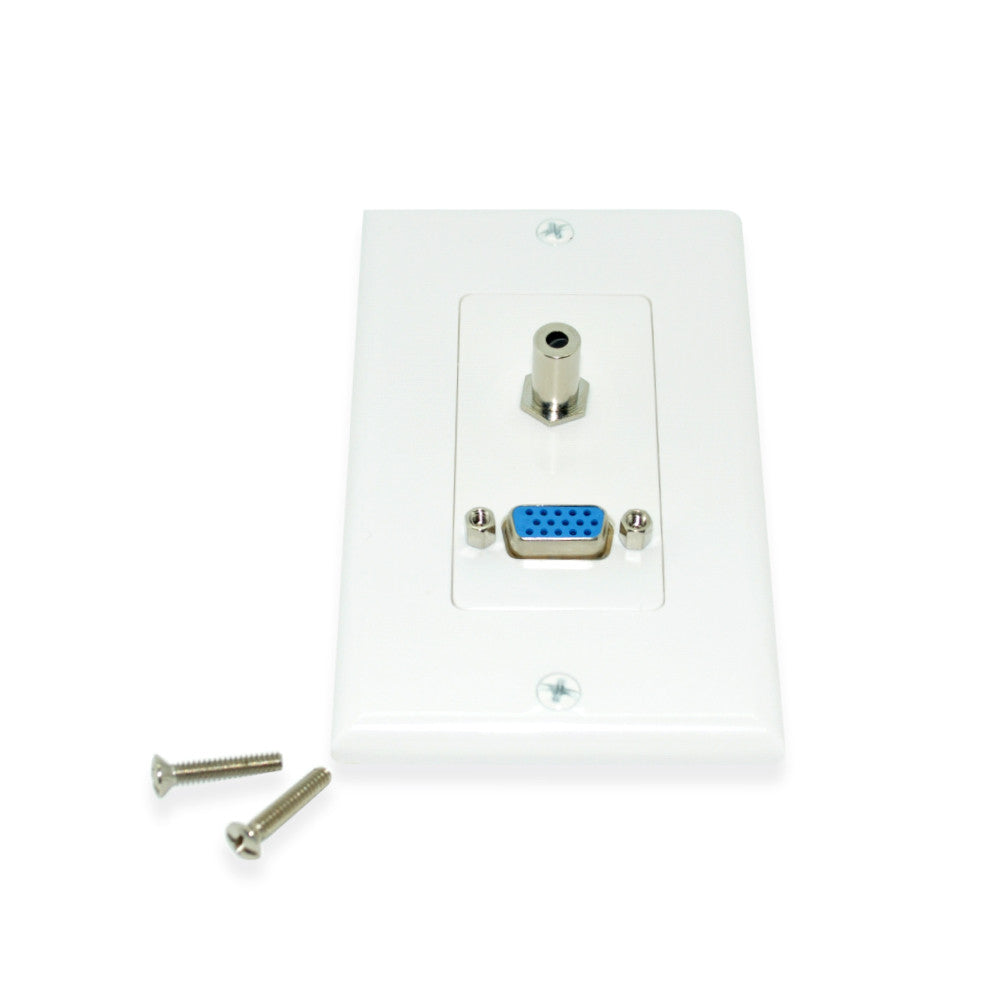 VGA & 3.5mm White Wall Plate – 21st Century Entertainment Inc.
