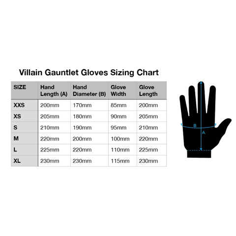 Villain Gauntlet Gloves Size Chart