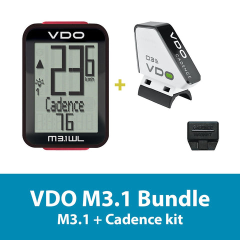 VDO Bicycle Computer M3.1 (wireless) bundle w/ cadence