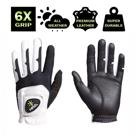 HIRZL Grippp Fit - Golf Gloves - White / Black
