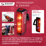 SIGMA Light - BLAZE Rear Light w/ Brake Light Function