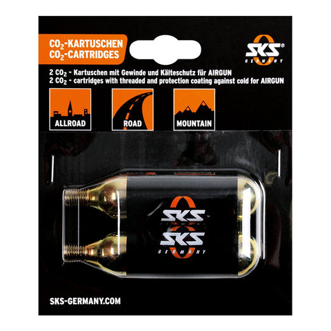 SKS - Bicycle CO2 Cartridges - 16G Threaded (2 Pack)