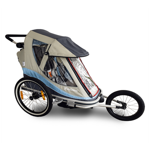 FREETOWN - Sugar Ride Kid Trailer & Jogger - Blue/Grey