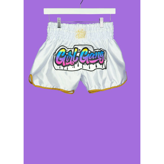 White Drip Muay Thai Shorts