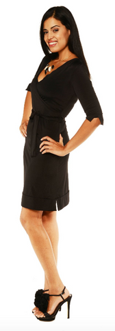3/4 Sleeve Knee Length Belted Dress
