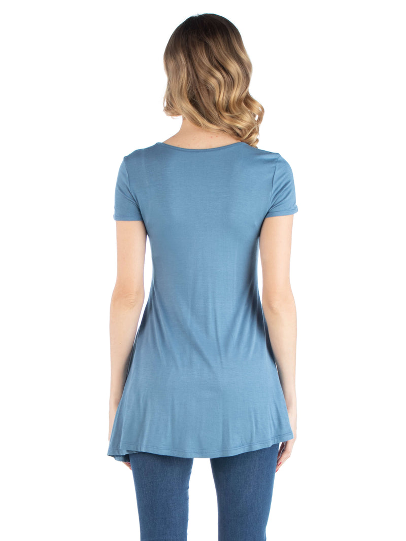 Cap Sleeve Maternity Tunic Top with Soft Flare Hem