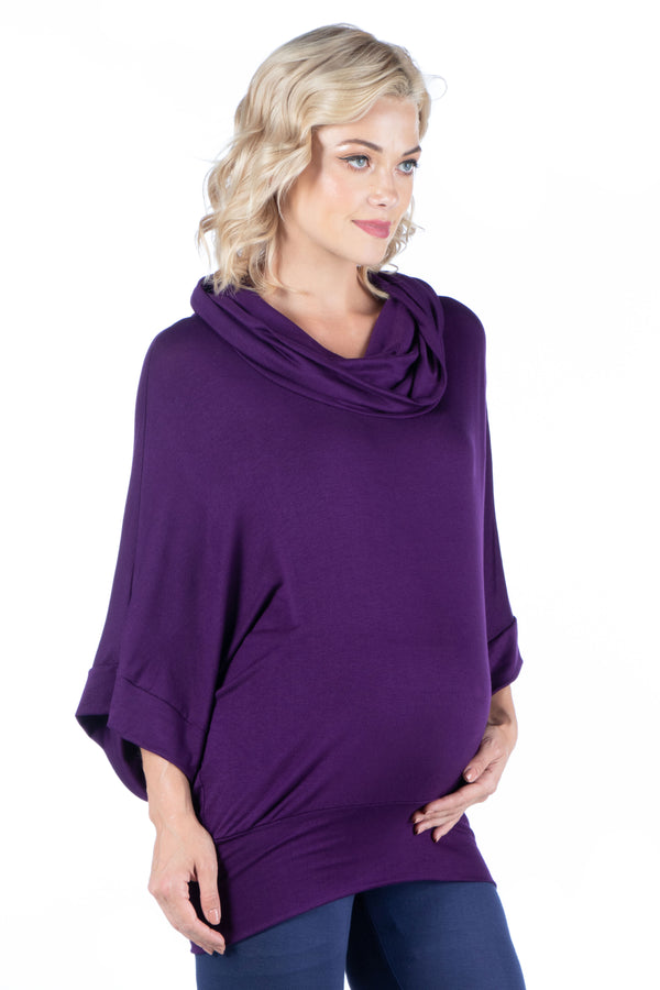 Oversized Cowl Neck Maternity Tunic Top