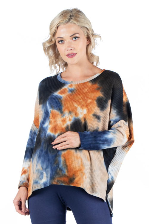 24seven Comfort Apparel Oversized Tie Dye Long Sleeve Dolman Maternity Tunic Top