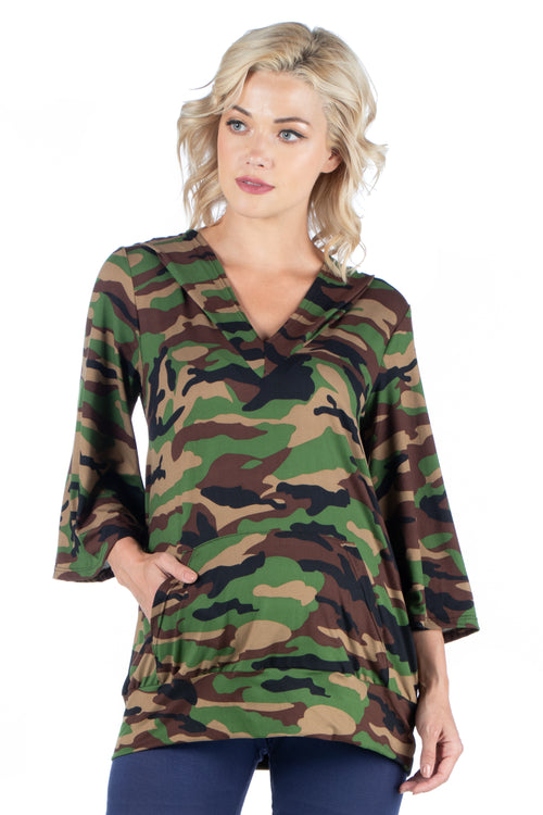 24seven Comfort Apparel Camo Print Oversized Pocket Maternity Hoodie Top