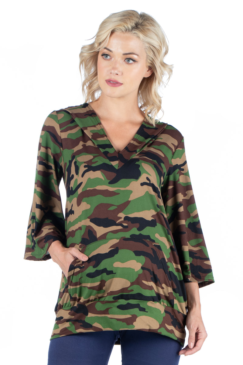 Camo Print Oversized Pocket Maternity Hoodie Top