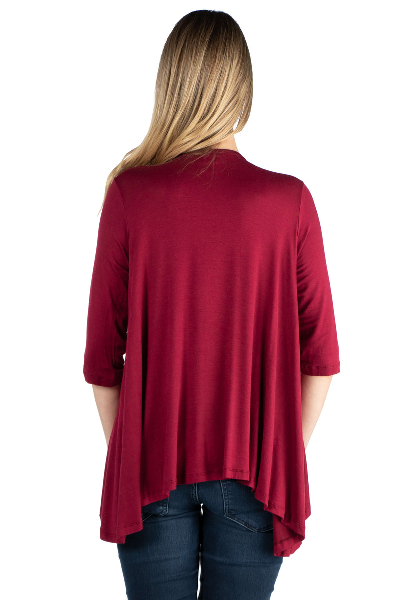 Elbow Length Sleeve Maternity Open Cardigan