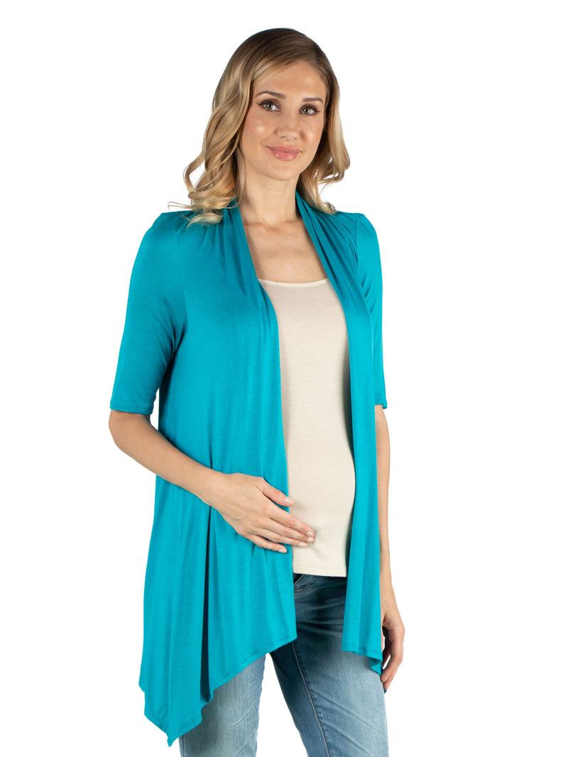 Loose Fit Open Front Maternity Cardigan with Half Sleeve