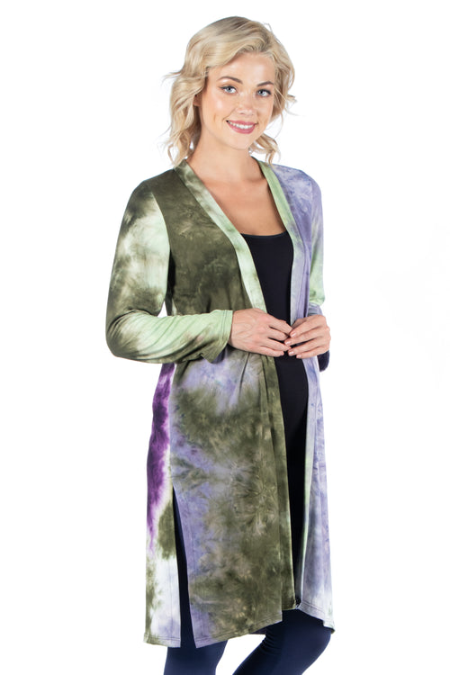 24seven Comfort Apparel Open Front Knee Length Tie Dye Maternity Cardigan