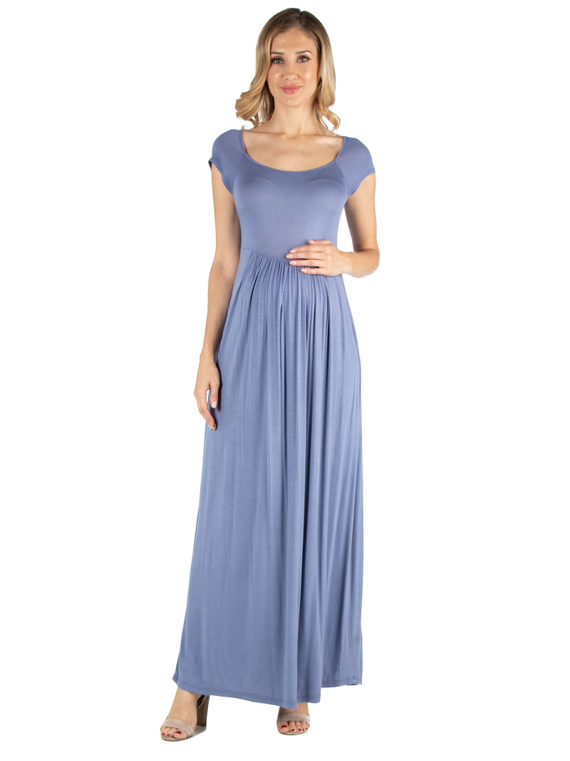 Maternity Maxi Dress with Round Neck and Empire Waist