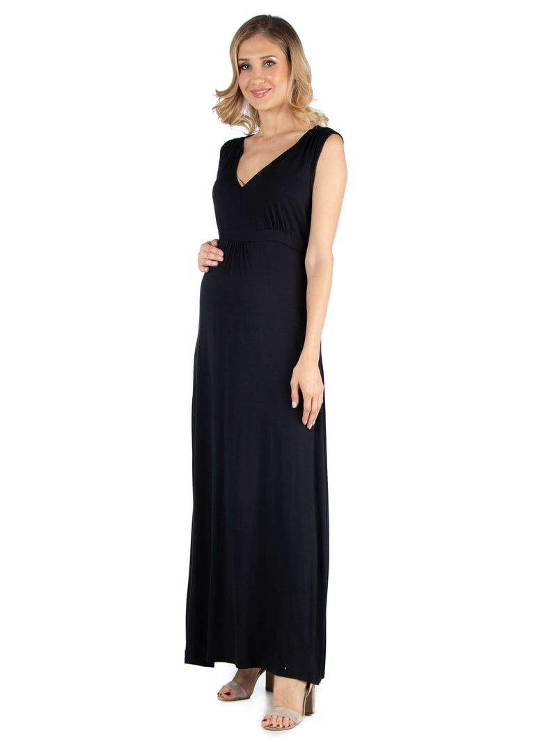 V Neck Sleeveless Maternity Maxi Dress with Belt