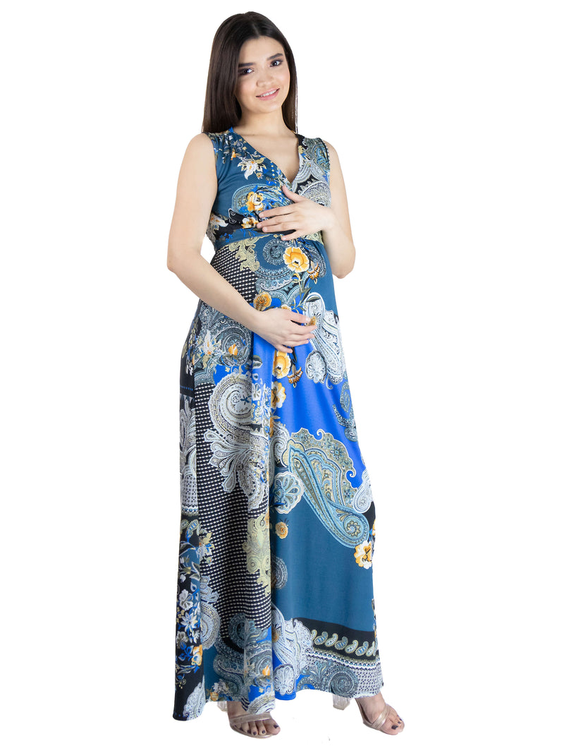 Blue Paisley Sleeveless V Neck Maternity Maxi Dress