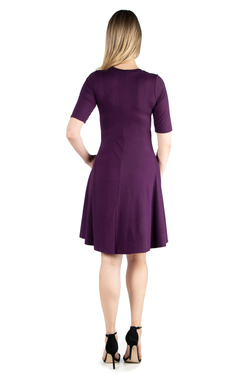 Knee Length A Line Elbow Sleeve Maternity Dress