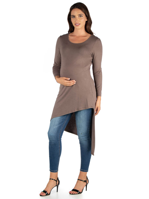 24seven Comfort Apparel Long Sleeve  Asymmetrical Maternity Tunic Top