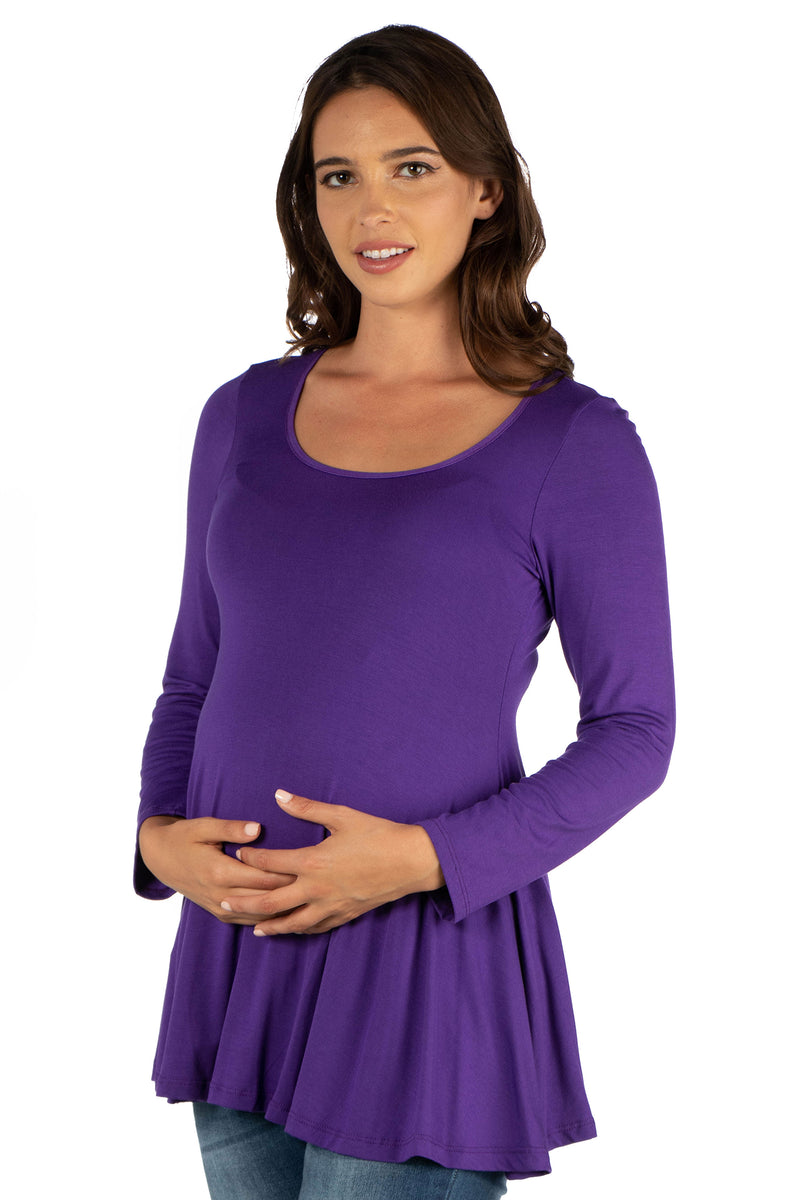 Long Sleeve Solid Color Swing Style Flared Maternity Tunic Top