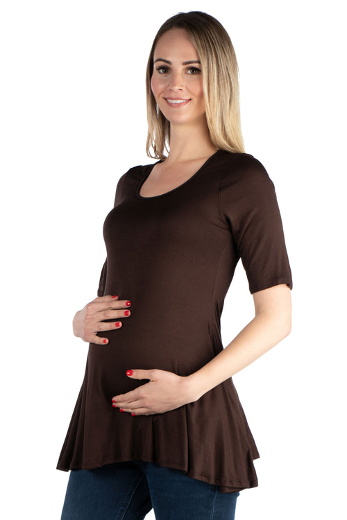 24seven Comfort Apparel Women's Maternity 3/4-sleeve Tunic