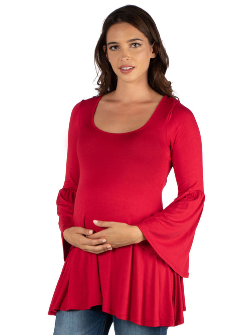 24seven Comfort Apparel Long Bell Sleeve Flared Maternity Tunic Top-TOPS-24Seven Comfort Apparel-RED-1X-24/7 Comfort Apparel