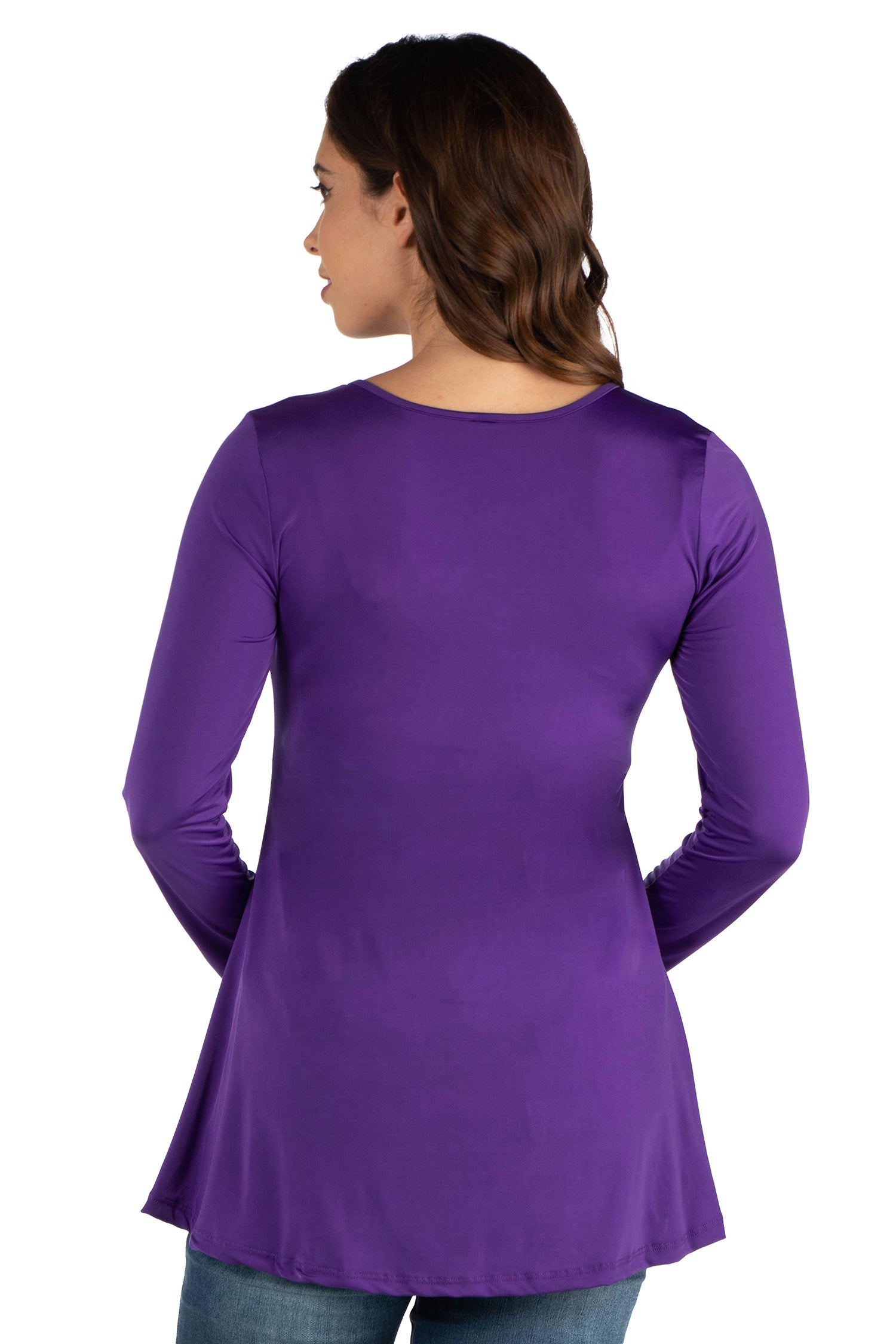 24seven Comfort Apparel Flared Long Sleeve Henley Maternity Top-TOPS-24Seven Comfort Apparel-WINE-S-24/7 Comfort Apparel