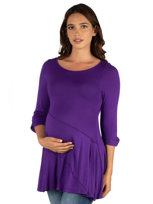 24seven Comfort Apparel Ruched Sleeve Swing Maternity Tunic Top-TOPS-24Seven Comfort Apparel-PURPLE-1X-24/7 Comfort Apparel
