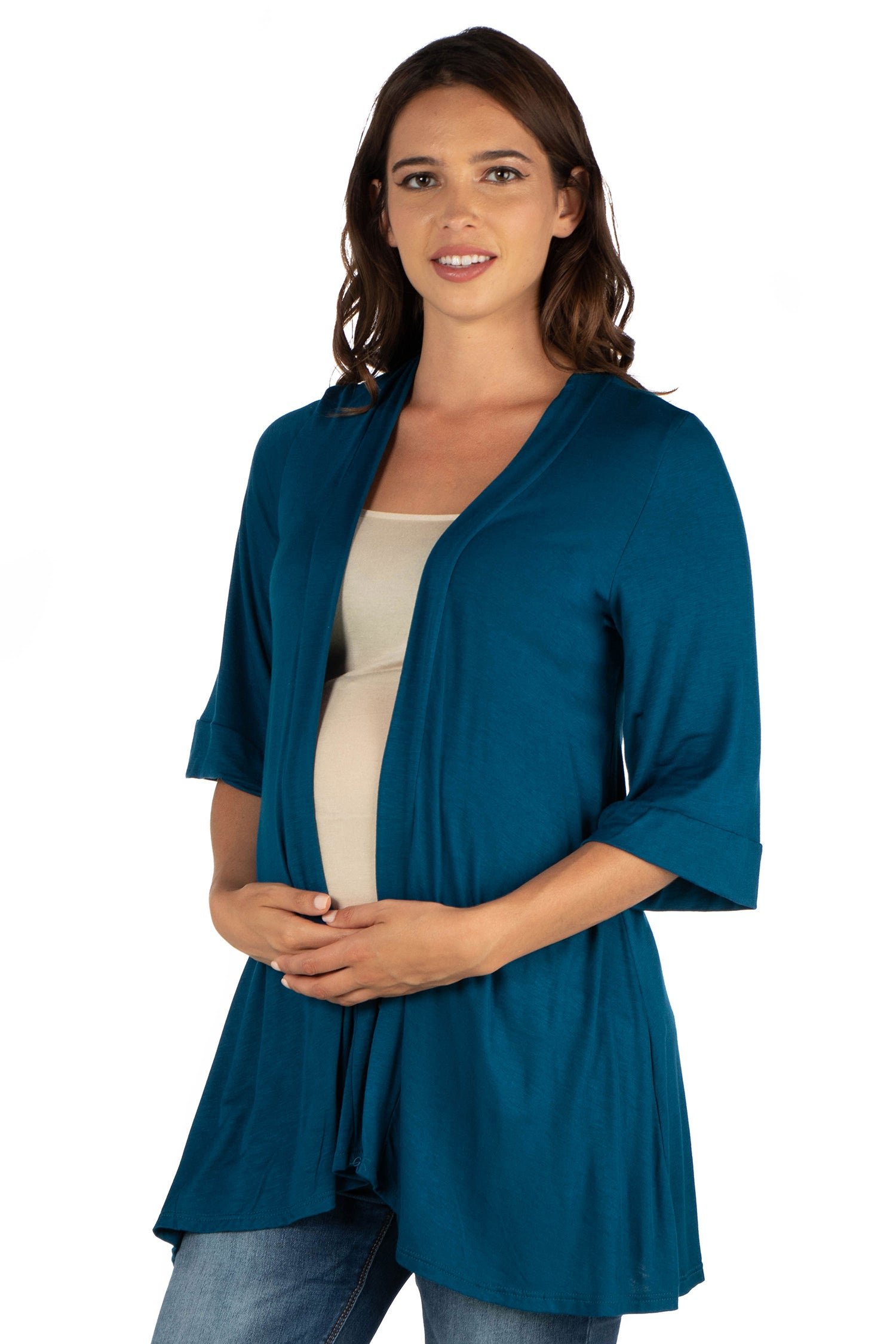 24seven Comfort Apparel Elbow Length Sleeve Open Front Maternity Cardigan-SHRUGS-24Seven Comfort Apparel-TEAL-1X-24/7 Comfort Apparel